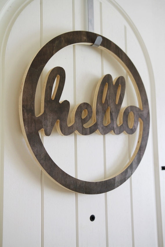 Stained Wood Hello Door Wreath Cutout