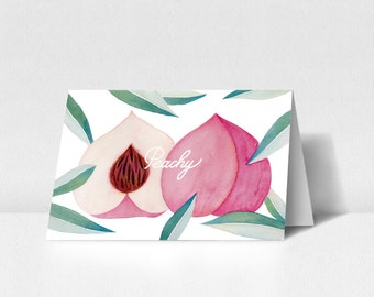 Printable Folded Watercolor Greeting Card/Gift Card Template - Peach - by PrintlyPaper