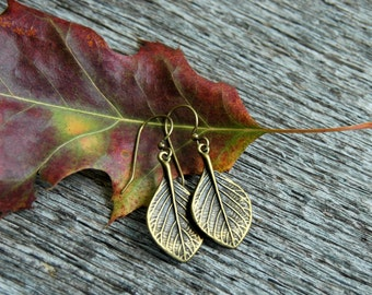 Brass Leaf Earrings . Best Friend Gift Women Gift . Birthday Gift for Women Best Friend . Dangle Earrings . Brass Earrings . Boho Jewelry