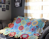 Octogon Crochet Afghan, Granny Square Crochet Afghan, Twin Cotton Blanket, Octagon Mosaic Crochet Blanket, Ready to Ship