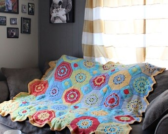 Octagon Crochet Afghan, Granny Square Crochet Afghan, Twin Cotton Blanket, Octagon Mosaic Crochet Blanket, Ready to Ship