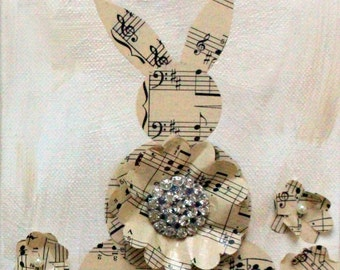 Lapin - Mixed Media Vintage Sheet Music Bunnies - White Rabbit - Nursery Wall Decor - Canvas Art - Original Art by Suzanne MacCrone Rogers
