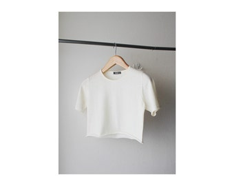 1990's Off White Cut Off Cropped Top
