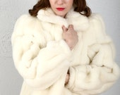 RESERVED FOR SYLVIE Faux Fur Coat . Vintage White Jordache Jacket