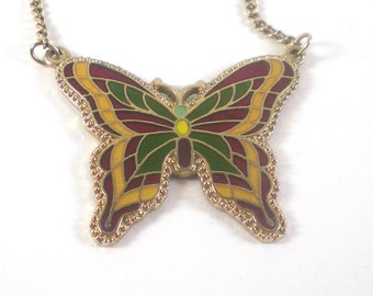 Enamel Butterfly Necklace Sarah Coventry Colorful Insect Collectable Vintage Pendant