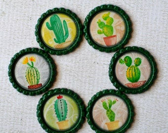 Cactus Bottlecap Magnets- Cute Potted Cactus in Super Strong Bottlecap Magnets- Plant Magnets- Desert Plants- Cacti Magnets