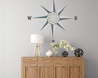Neutral Compass Wall Decal, Matte Fabric Eco-friendly Peel and Stick Nautical Compass Wall Sticker