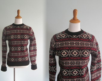 Vintage 80s Calvin Klein Fair Isle Sweater - Vintage Wool Sweater in Red, White, and Black - Vintage 1980s Sweater S M