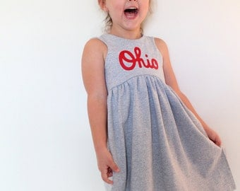 OHIO Dress, Gray and Red, or Black and White dress, Ohio made (made to order unless in stock)