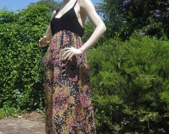 M Missoni sexy crochet top flowing silk maxi dress floral metallic shimmer sz 12