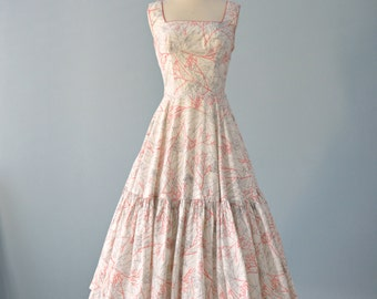 Vintage 1950s Dress...CAROLYN SCHNURER White Cotton Sundress
