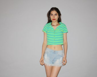 90s Graphic Neon Green Striped Cropped Crop Top Belly Tops  - 1990s Crop Top - Women's 90s Tops - WT0480
