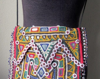 Antique Hand Banjara 100 Mirror Embroidered, Buttons and Bead Kutch Purse