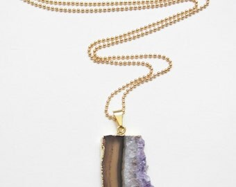 Amethyst Slice Necklace-Long Necklace, Gold Necklace, Purple, Amethyst Necklace, Layering Necklace, Long Gold Necklace