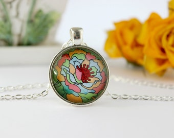 Colourful Abstract Flower Necklace,Silver Glass Pendant,Glass Cabochon Pendant With Chain
