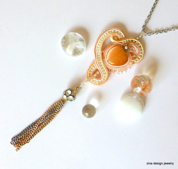 Heart Necklace, Soutache Necklace, Long Necklace, Peach, Tassel Necklace, Peach Pendant, Peach Necklace, Peach Soutache