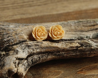 Ginger Yellow (03) 13mm Dainty Resin Rose Cabochons CF1027