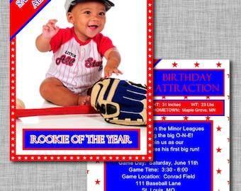 Baseball Card Invitation | First Birthday Boy | First Birthday Invitations | 1st Birthday Boy | 1st Birthday Invitation | Rookie of the Year