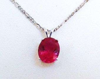 Ruby Pendant Necklace, Julys Birthstone, Fine Jewelry, Birthstone Jewelry, Gifts for Her, Gemstone Necklace, Sterling Silver Necklace Chain