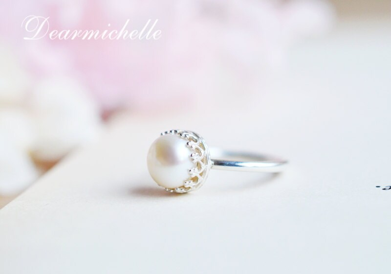 smooth pearl ring in sterling silver simple pearl by