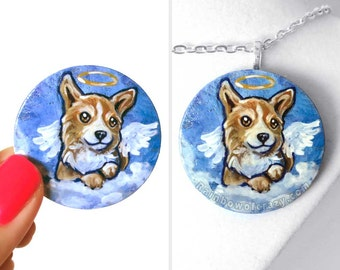 Dog Portrait, Corgi Lover, Pet Memorial Art Necklace, Angel Pendant, Hand Painted Wood Jewelry, Animal Painting, Keepsake Gift for Her