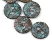 8 Round 12mm Button - Green Patina - Small Round Rustic Verdigris Button