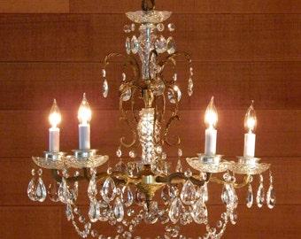 Vintage Chandelier Gorgeous Antique Chandelier Ornate Brass Design & Crystal Prisms so Versatile 5 Lights Magical Lighting!