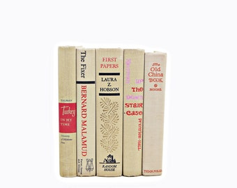 Buff Beige Antique Book Set, Decorative Books, Old  Book Collection, Wedding Decor, Home Office Decor, Vintage Book Decor, Instant library