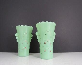 Vintage Jadeite Vase // ONE Art Deco Scalloped Edge Floral Vase Rustic Worn Painted Collectible Fire-King Glassware Jade Green Milk Glass