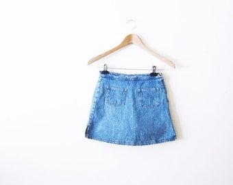 90s Skort / Denim Skirt / Denim Mini Skirt / 90s Clothing / High Waisted Skirt Small