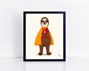 Super Sloth Critter Giclee Print 8 x 10 inches