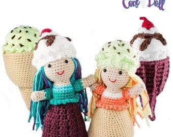 Amigurumi Crochet Ice Cream Cone Topsy-Turvy Doll Toy Pattern
