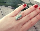 amazonite ring, stone ring, sterling silver stone ring, open ring, organic ring. recycled silver, virgo ring, long ring, adjustable ring
