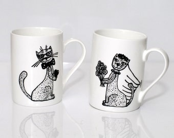Engagement gifts for her Gift for Bride and Groom Mrs and Mr tea mugs Engagement gift cat mugs Mr and Mrs mugs Wedding gift Couples gifts