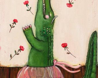 Alligator Ballerina Art Print