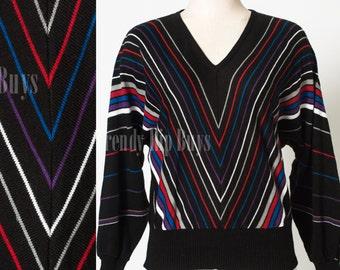 Vintage 80s Sweater, Vintage Black Sweater, Chevron Sweater, Vintage sweater, stripe sweater - M