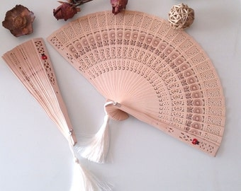 Hand fan, rustic wedding fan, set of 2, wooden hand fan, wedding favors, ivory, silk tassel, wedding wood fans, bridesmaid gifts