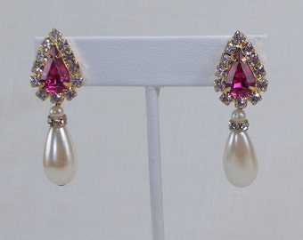 Beautiful Blingy Magenta Rhinestone and Faux Pearl Teardrop Earrings  1425