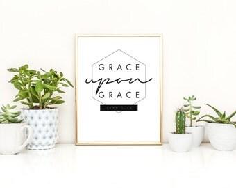 "INSTANT DOWNLOAD!!! ""Grace Upon Grace John 1:16"" scripture, black & white, printable, wall art, geometric, print at home, minimal, bible"