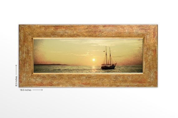Tall Ship in the Mediterranean Ocean with Sunset. Europe Travel Photography. Framed Fine Art Print.  FREE SHIPPING.