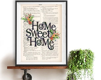 Home sweet home print Typographic Print quote decor typography art Minimalist Poster Nordic Art Black and white vintage Christmas Gift