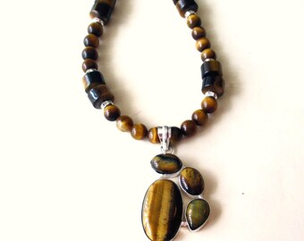 Tiger Eye Necklace, Tigereye Necklace, Tiger Eye Pendant Necklace, Sterling Silver Tigereye Pendant and Tiger Eye Bead Necklace