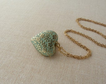 ForgetMeNot . necklace victorian heart locket, forget me not design, raw brass, light green patinated, short chain summer spring love
