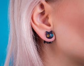 Cat polymer clay jewelry gift for her black earring fake plug gauge stud cute kitty accessories kawaii cat lover 3D polymer clay jewelry
