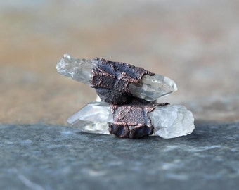 Crystal Earrings Raw Stone Posts Earrings Sterling Silver Studs Electroformed Earrings Copper Jewelry Gemstone Jewelry Natural Stone