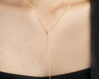 14k gold diamond drop necklace, diamond Y necklace, natural diamond, three diamond necklace, G SI quality, 0.14ctw, dal-n104