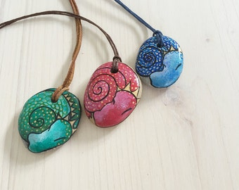 Blue Dragon Necklace OOAK handpainted stone jewelry