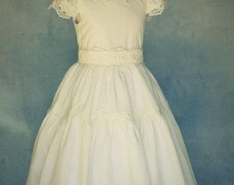 Linen Couture Dress Girls, Linen Dress, Communion Dress, Flower Girl Dress, Heirloom Dress, Special Occasion Dress, Ivory Linen Dress