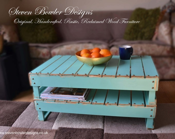 Bespoke Rustic Reclaimed Wood Coffee in Aquamarine Blue with Decorative Wood Edging & Tacks Undershelf Storage Handcrafted to Order