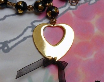 Gifts for Her, Open Heart Necklace, Gold Heart Necklace, Heart Bead Necklace, Gold Heart Pendant